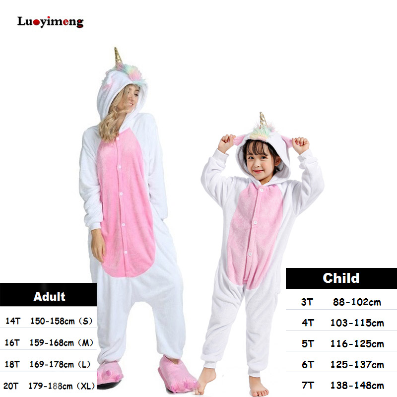 Boys Girls Clothes Gold Horn Unicorn Pajamas For Women Onesie Cartoon Animal Sleepwear Winter Warm Pajamas Kigurumi Pyjamas Kids christmas rainbow unicorn animal family onesie pajamas