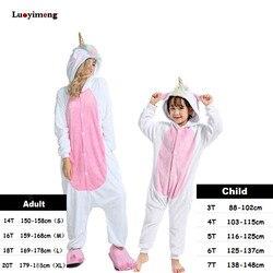 Boys Girls Clothes Gold Horn Unicorn Pajamas For Women Onesie Cartoon Animal Sleepwear Winter Warm Pajamas Kigurumi Pyjamas Kids