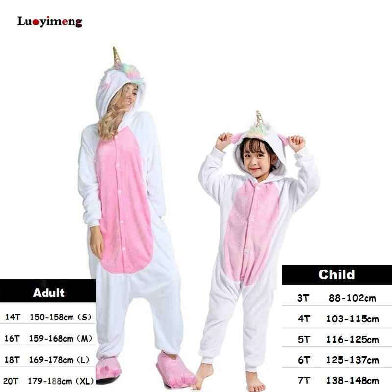 Roupas meninos Meninas de Ouro Chifre de Unicórnio Pijama Para As Mulheres Onesie Kigurumi Pyjamas Animal Dos Desenhos Animados Pijamas de Inverno Pijamas Quentes Crianças