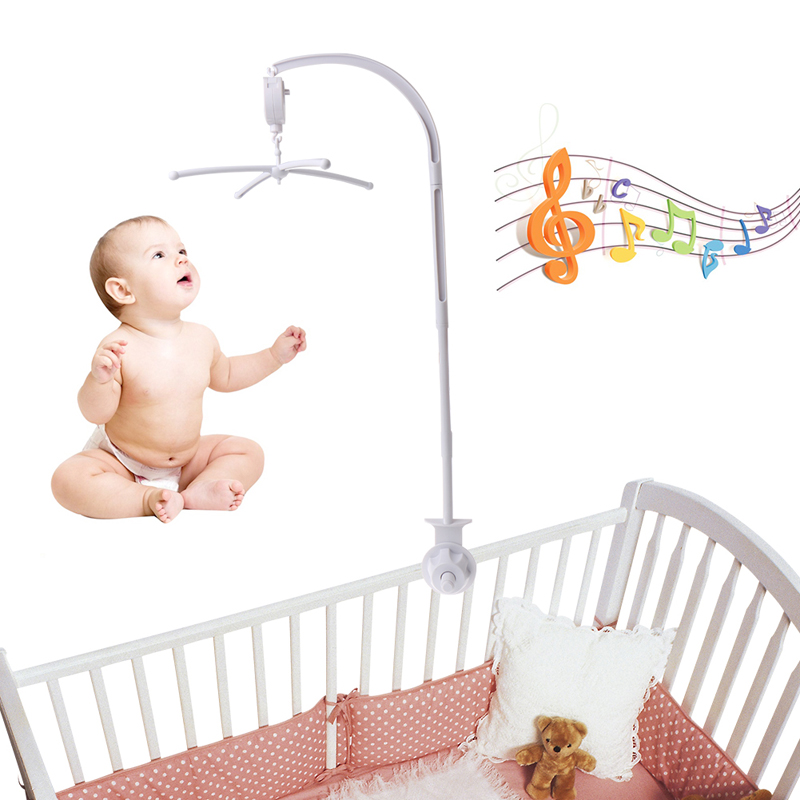 Baby Rattles Bedding Mobile Cradle Toys Arm Support Holder + Wind-Up Music Box