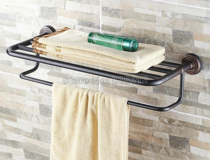 Classic Black Oil Rubbed Brass Wall Mounted Bathroom Towel Rack Shelf Rails Double Bar Wba120 classic black oil rubbed brass wall mounted bathroom towel rack shelf rails double bar wba120