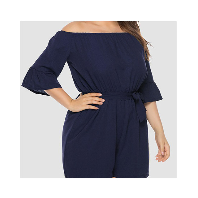 2019 summer New Women Off-Shoulder Playsuits Casual Lace Up Short-Sleeved  Loose Solid Sexy Playsuitst Rompers Plus Size 4XL 4