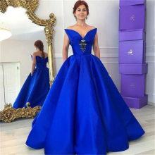 Designer Royal Blue V Neck Backless A Line font b Prom b font font b Dress