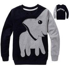Свитер-Футболка С Рисунком Слона для малышей, цвет-блок Лидер продаж, свитер с длинными рукавами для мальчиков от 1 до 5 лет, топы