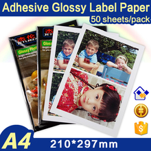 Whole A4 Sheets Photo Paper Sticker Self-adhesive for Color Inkjet Printer, A4 size, 50 sheets /pack,  Glossy Surface