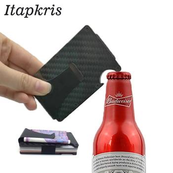 جديد أزياء الرجال ألياف الكربون بطاقة بنك ائتمانية حامل المحمولة النقدية حافلة حالة محفظة بشريحة RFID بارد فتاحة الزجاجات بورت شارة