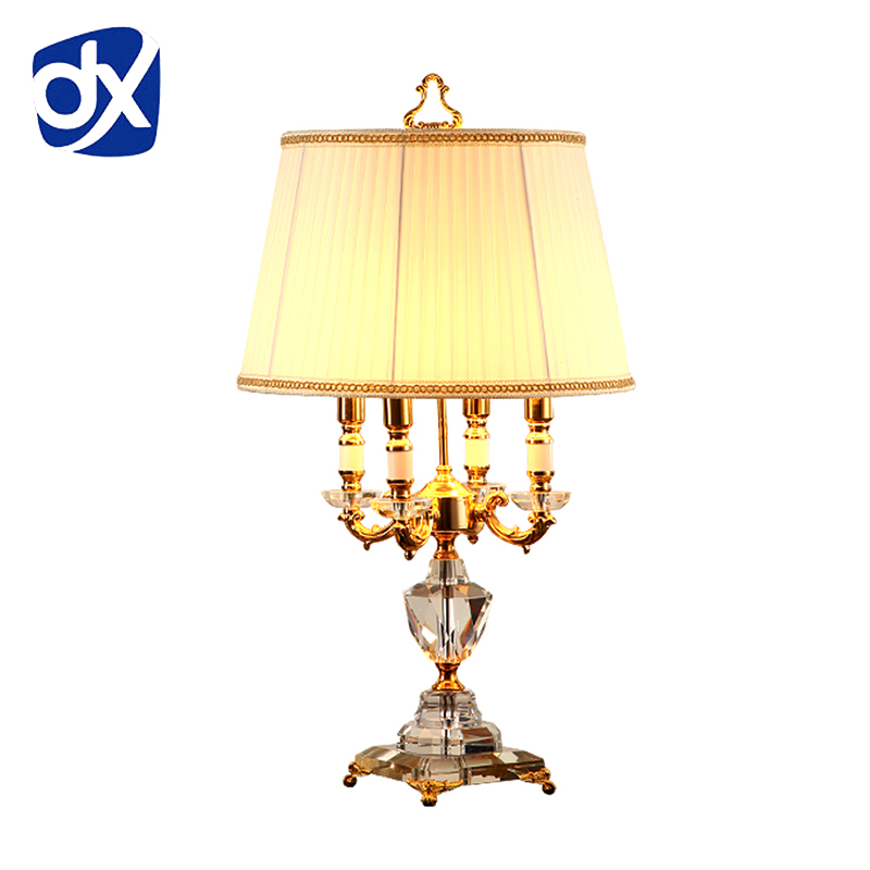 DX Crystal Bedroom Table Lamp White Fabric Lampshade Living Room Decoration Abajur Table lamp For Bedroom Lamparas De Mesa