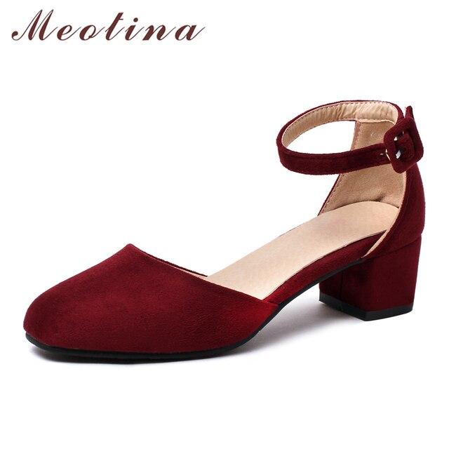 Meotina/Женская обувь на высоком каблуке, женские туфли-лодочки с ремешком на щиколотке, 2017 повседневные туфли-лодочки на среднем толстом каблуке из двух частей, красные туфли, размер 33-42, Sapatos