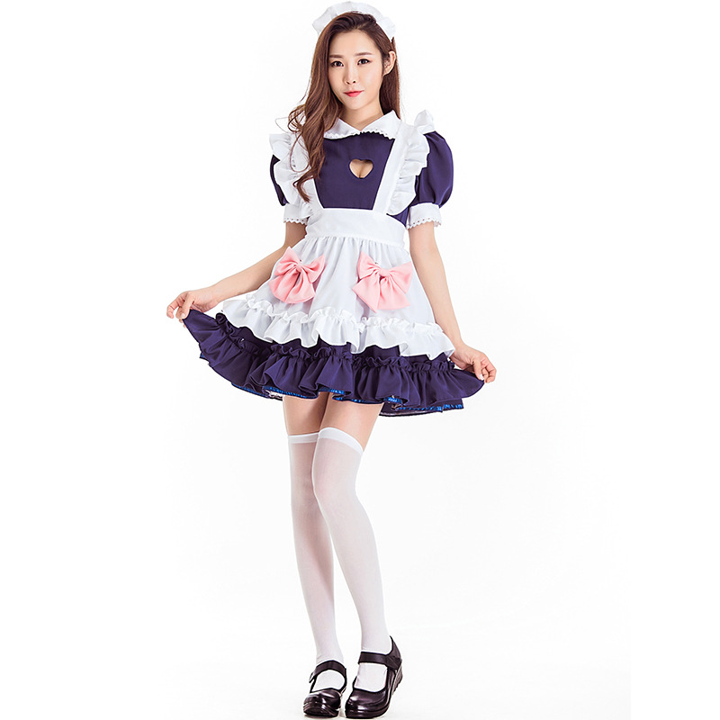 Blue Lolita Maid Dress Costumes Cosplay Cute Suit for Girls Woman Waitress Maid Party Stage Costumes