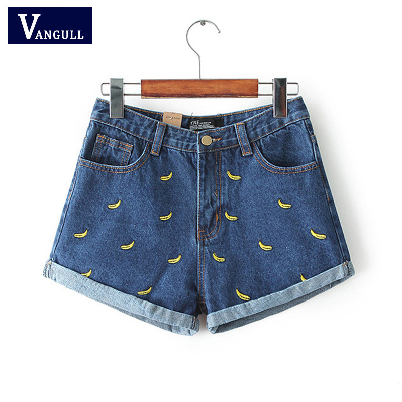 Vangull Fashion Women Korean Summer Banana Flower Embroidery Cotton Curling Plus Size Casual Female Waist Denim Shorts