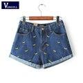 Vangull Fashion women Korean summer banana flower embroidery cotton curling plus size casual female waist denim shorts