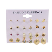 OATHYAN 12Pairs/Lot Cute Crystal Stud Earring Set Fashion Jewelry Handmade Romantic Star/Flower/Pineapple Shaped Ear Stud Mix