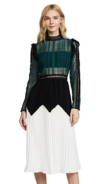2017 Newest green white patchwork pleated long dresses long sleeve vintage women dresses high quality