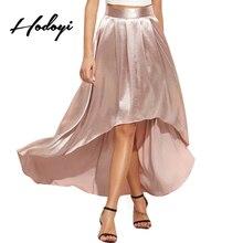 Hodoyi Розовый Элегантный Симпатичные асимметричные юбки женщин Высокая талия плиссированные юбки женский элегантный дизайн повседневные трапециевидные юбки дамы