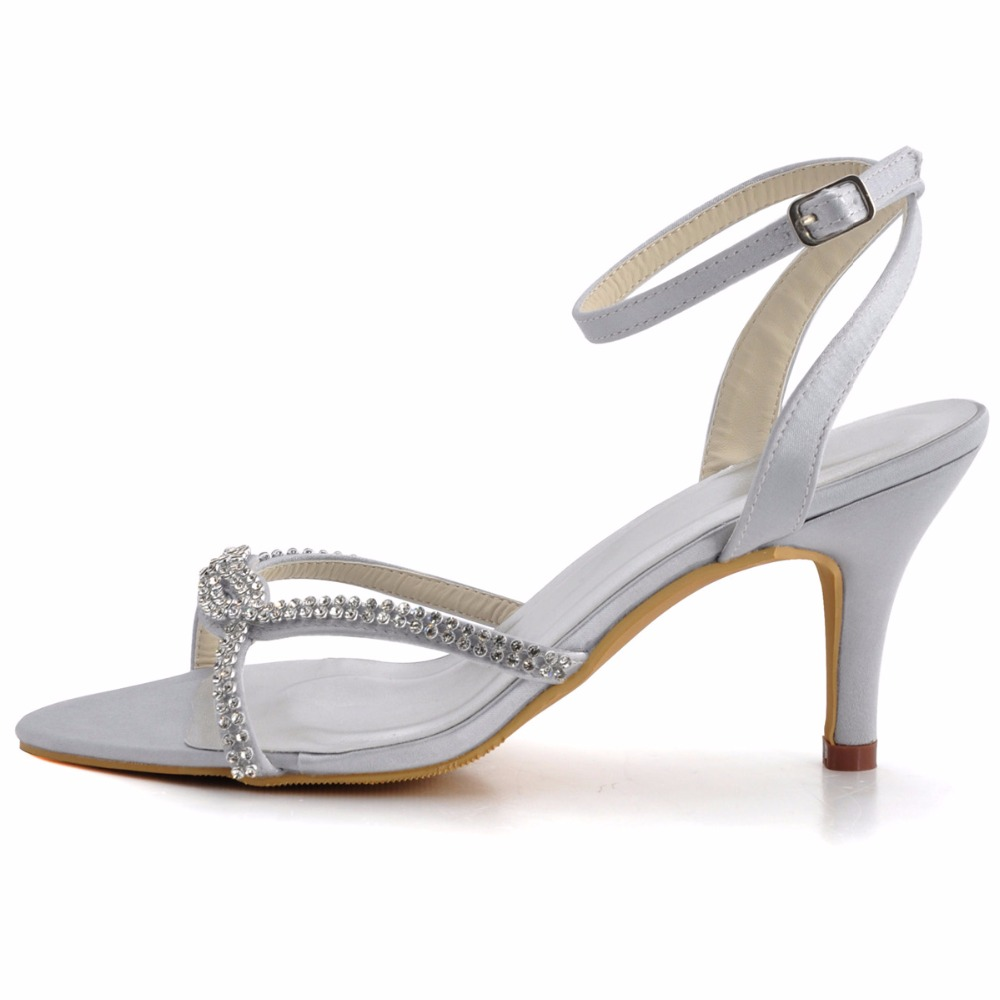 b1fea44c2bd woman Summer High Heel Sandals EP2056 Silver Open Toe Rhinestones Satin Bride  Bridesmaid Wedding Bridal Party Prom Evening Shoes-in High Heels from Shoes  on ...