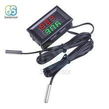 Mini DC4-28V Red+Green Dual Display Digital Thermometer NTC Waterproof Metal Probe Temperature Sensor Tester for Car Room Indoor