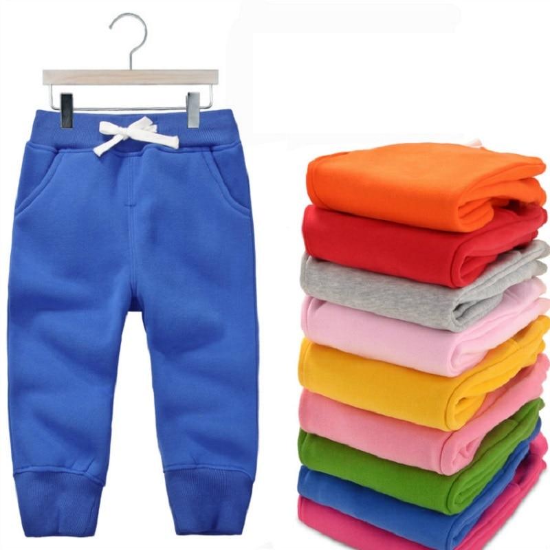 Vinter varm velvet bukser for 1-5 Yeas babyer Gutter Jenter Casual Sport Bukser Jogging Enfant Garcon Kids Barn Bukser KF107