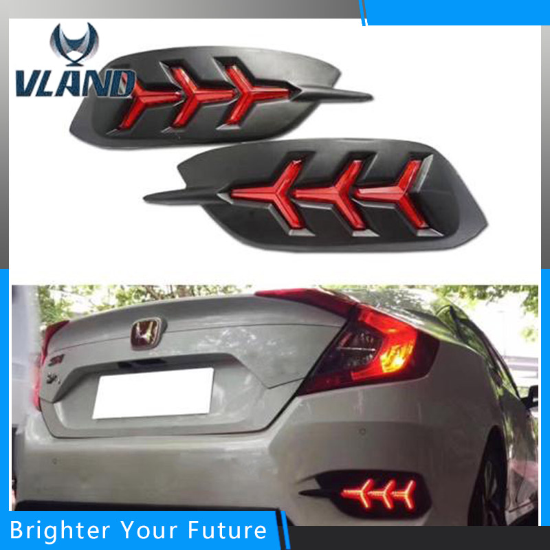 Fishbone Style Red Rear Bumper Rear Fog Lights For Honda Civic 2016 2017 Daytime Running Lights with Turning Signal