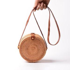Vintage Handmade Rattan Woven Shoulder Bags PU Leather Straps Bow Hasp Holiday Beach Crossbody Bag Messengers Women Handbag B161