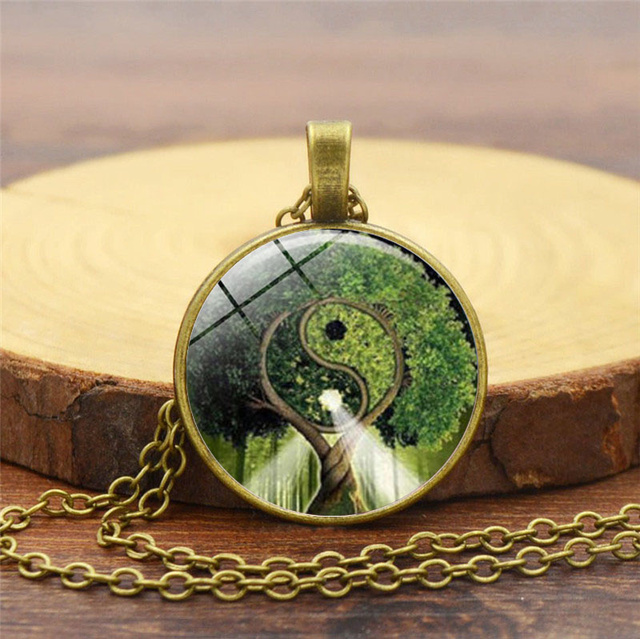 Yin Yang Tree Glass Necklace