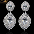Vintage Design High Quality CZ Simulated Diamond Dangle Drop Women Party Earrings For Wedding Bridal Jewelry Gift CZ321
