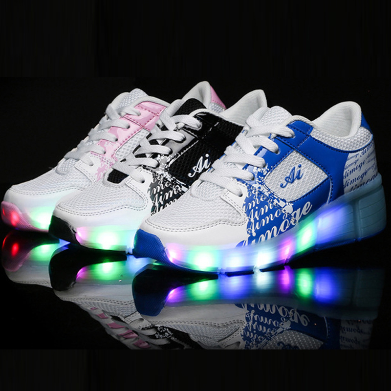 Children Shoe Sneakers With Wheels Light Kids Girl Shoes Automatic One Wheel Shoes Kids With LED Lights Flash Roller Shoes children roller sneaker with one wheel led lighted flashing roller skates kids boy girl shoes zapatillas con ruedas
