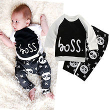 New 2016 Spring Winter Baby Boys Kids Outfits 2pcs Cotton Printed Panada clothes set