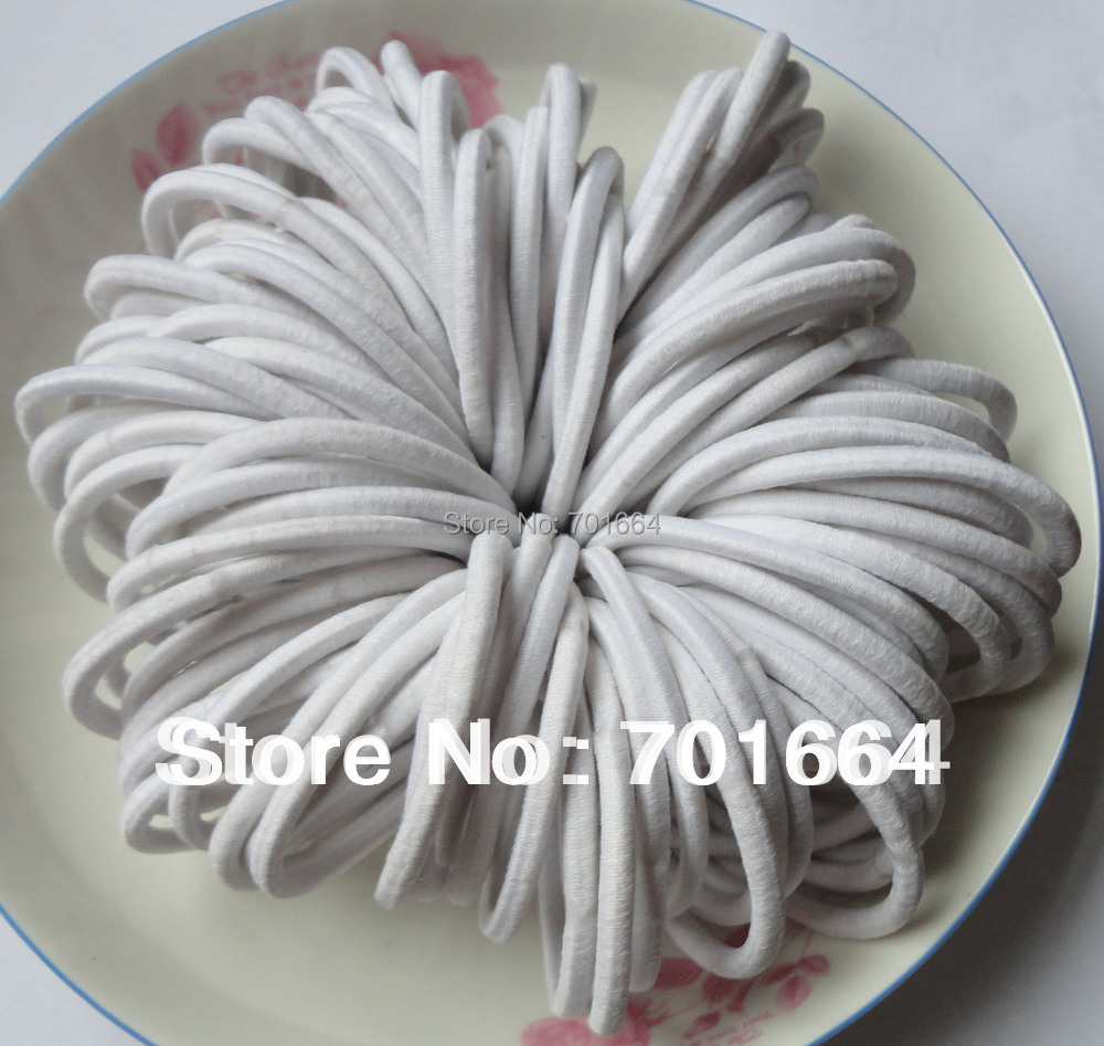 50PCS 4mm white elastic ponytail holders hair bands with gluing connection 62868c025b5