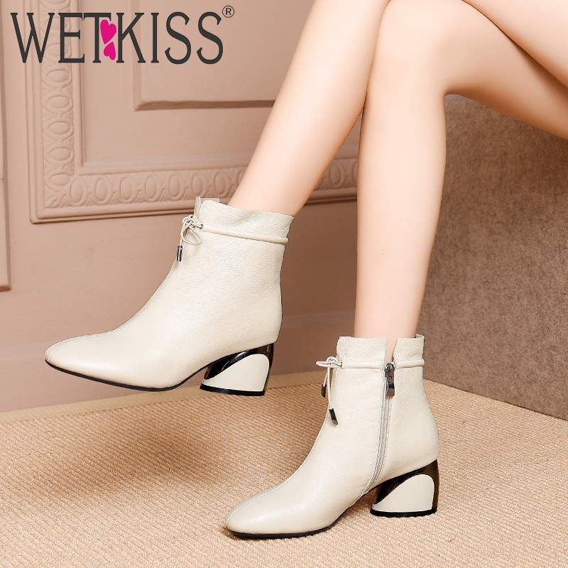 WETKISS Unusual High Heels Women Ankle Boots Square Toe Cross Tied Footwear Cow Leather Female Boot Zip Shoes Woman 2020 Winter