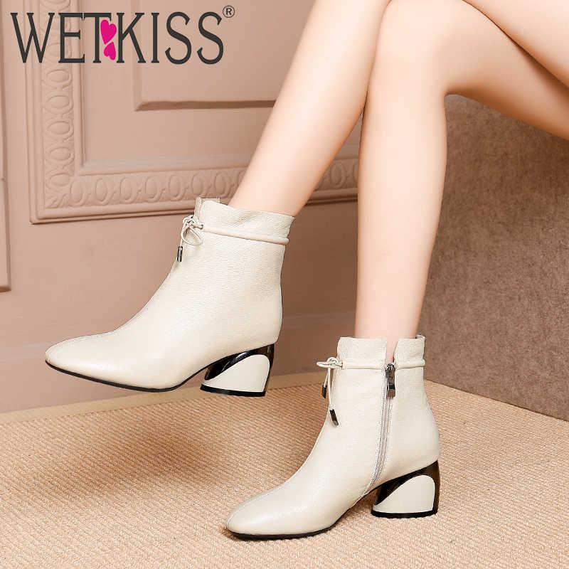 WETKISS יוצא דופן גבוהה עקבים נשים קרסול מגפי כיכר הבוהן צלב קשור הנעלה פרה עור נשי אתחול Zip נעלי אישה 2020 חורף