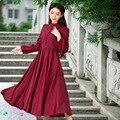 Primavera outono Elegante Gola Laço Longo Equipado Vestido de Manga Moda Feminina de Algodão Vermelho Vestido Maxi Plissada