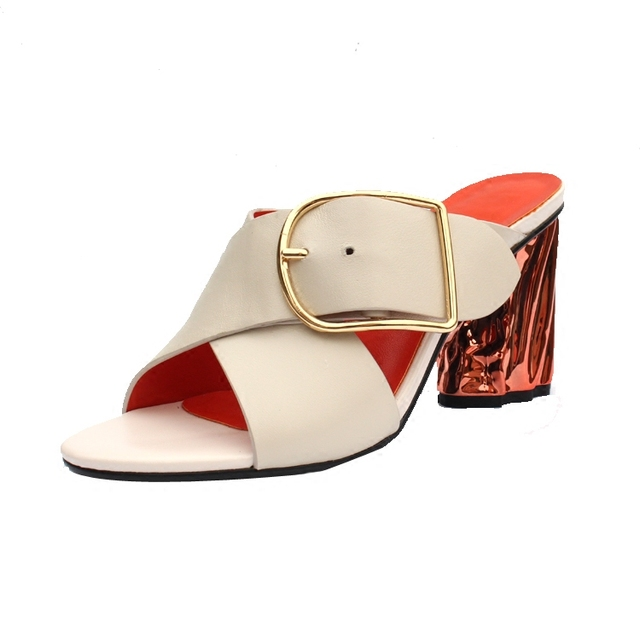 2018 Hot High Heel Chic Woman Slipper Fashion Slides Women Metallic Belt Buckle Design Summer Sapato Feminino Hot Trendy Shoes