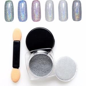 Новая голографическая пудра-единорога с серебристым лазером 2 г/бутылка, блестящие пигменты для дизайна ногтей радужной хромированной расц...