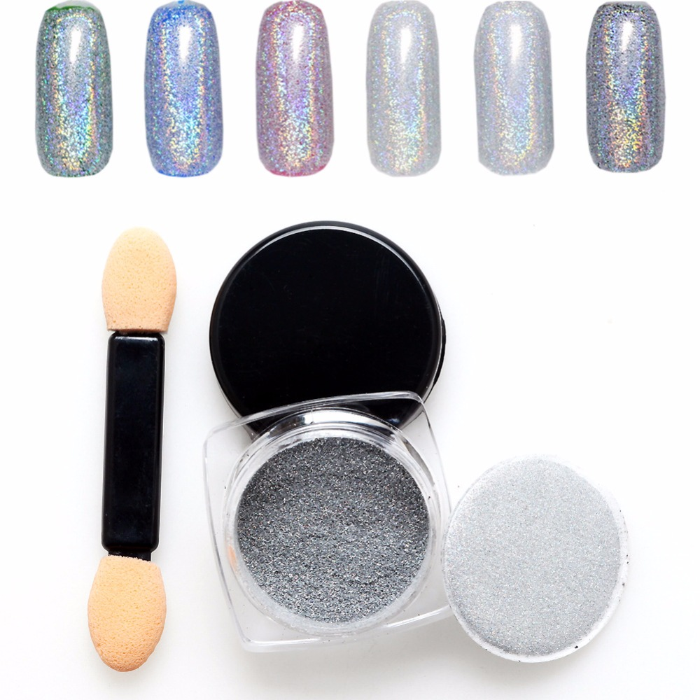 Nuevo 2 g / Botella de Plata Láser Holográfico Unicorn Powder Glitter Nail Art Rainbow Chrome Pigmentos DIY Magic Chameleon Powder