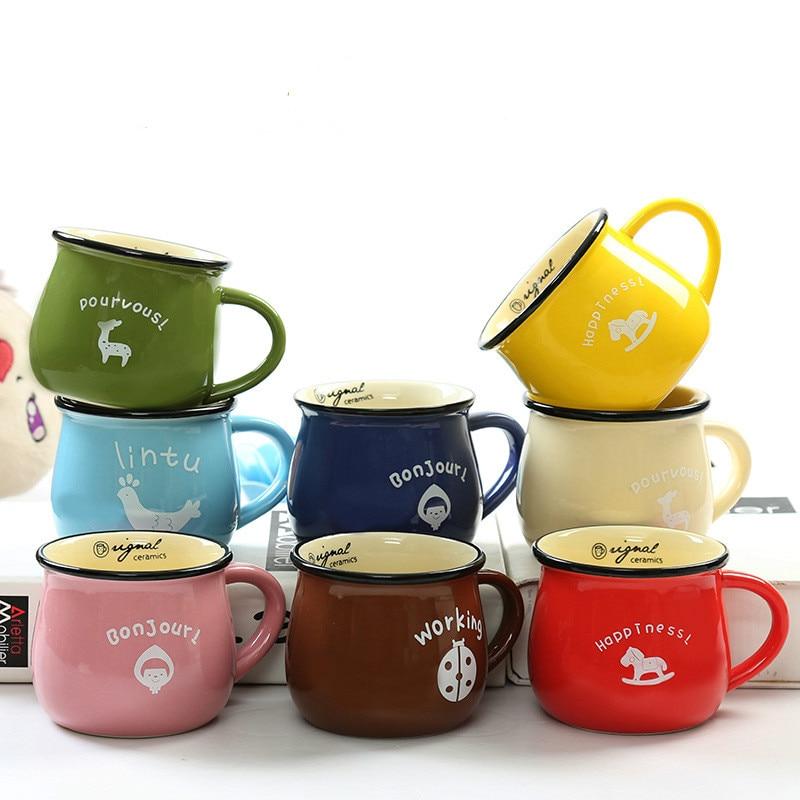 Retro Ceramic Cup Zakka Grocery European Classic Style Cute Breakfast Mug Enamel Milk Cups Fresh Style Lovely Gifts