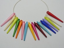 200 Mixed Bubblegum Color Acrylic Spike Pointy Charms 34mm For Hoop Earrings