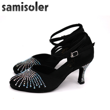 Samisoler Ladies Latin dance shoes with rhinestone style  salsa dancing shoes ballroom dance shoes tango jazz ladies shoes wholesale ladies wedding bridal party dancing shoes salsa ballroom latin tango dance shoes all size suede sole