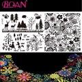 10 unids/lote Flor/Árbol/Patrones Animales Del Arte Del Clavo Estampado Placas