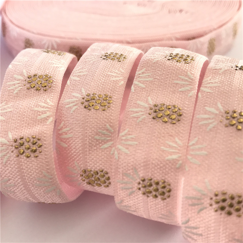 5Y 16mm Pineapple Print Pink Fold Over Elastic Ribbon For Hand Sewing Underwear Of Latin Dance