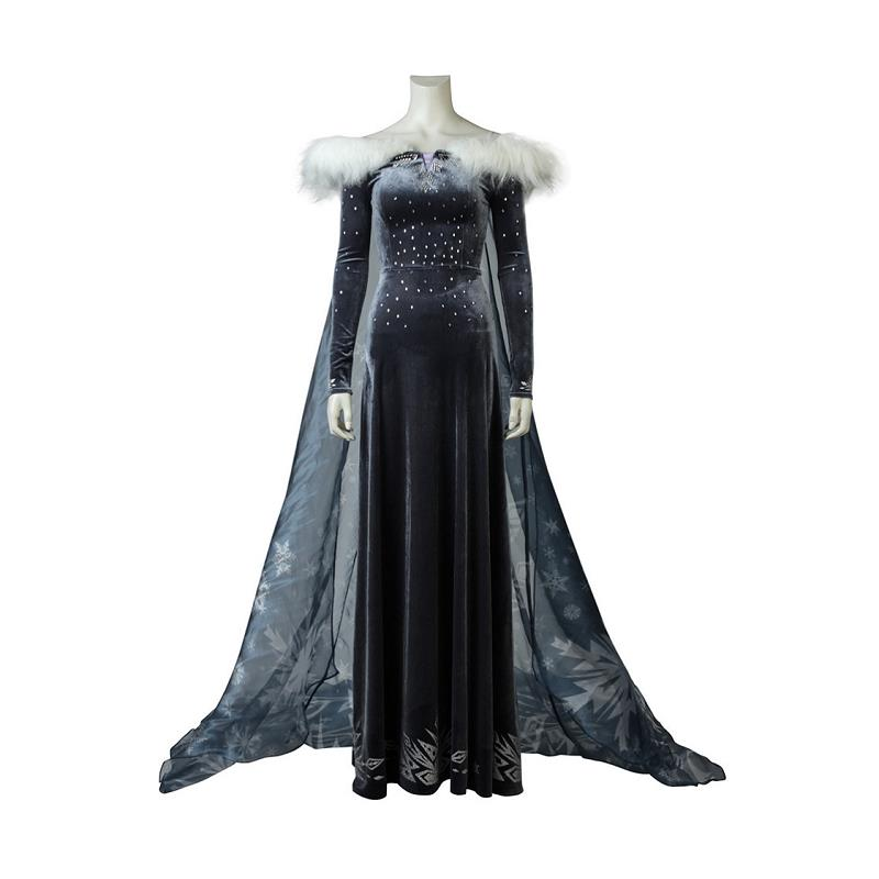 Olaf's Adventure Snow Queen 2 Cosplay Elsa Costumes Shiny Sequins Beaded Evening Party Dress Cloak Halloween Outfit New Year