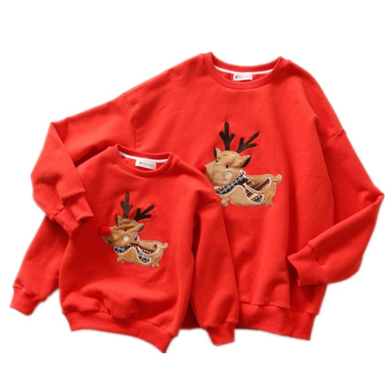 Family Matching Clothes Christmas Sweater Mother Daughter Cute Deer Children Clothing mommy and me father Son outfits T-shirt plus size christmas deer bell graphic asymmetric t shirt