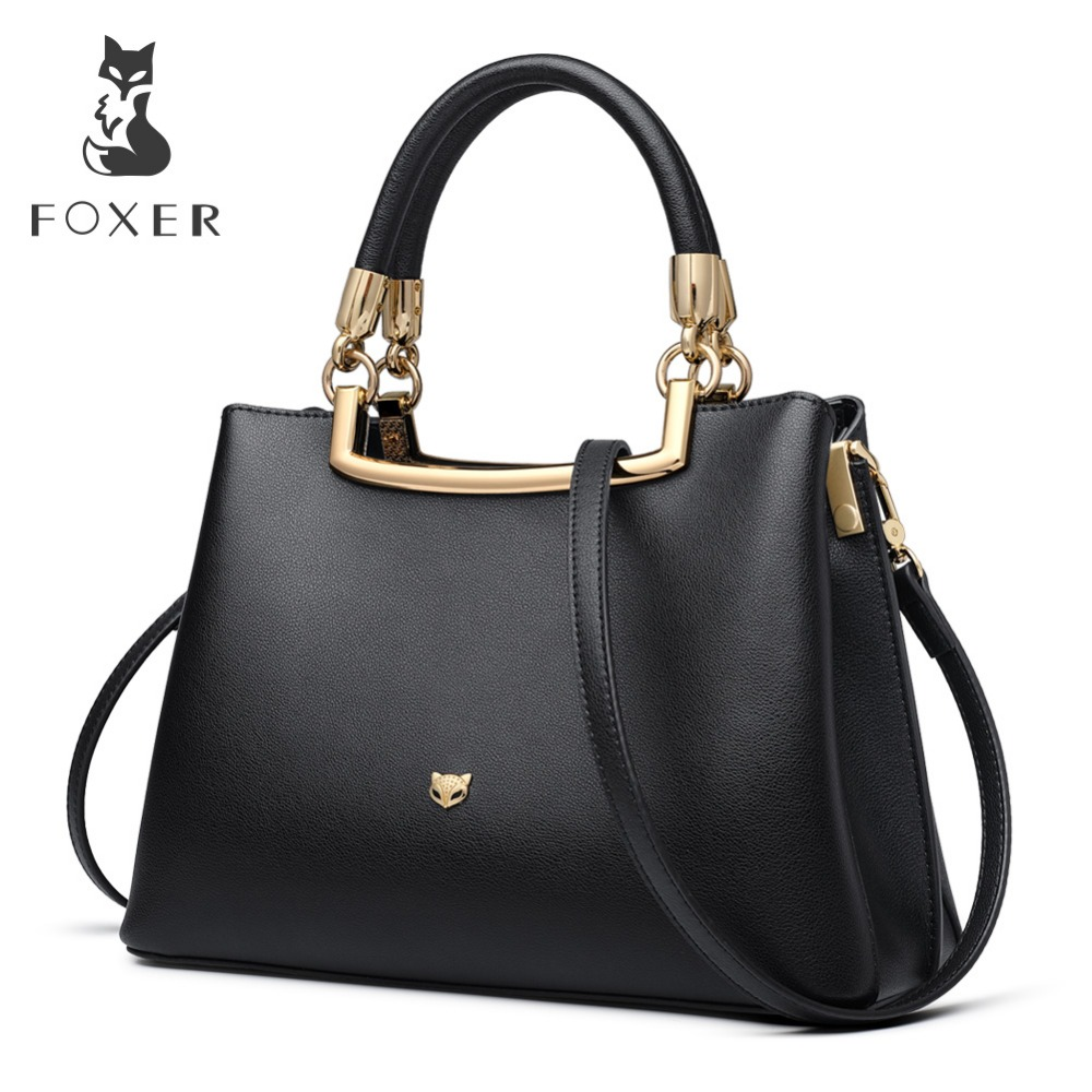 FOXER Brand Female Zipper Large Capacity Chic Totes Lady Luxury Shoulder Bags Women Leathe Messenger Bags