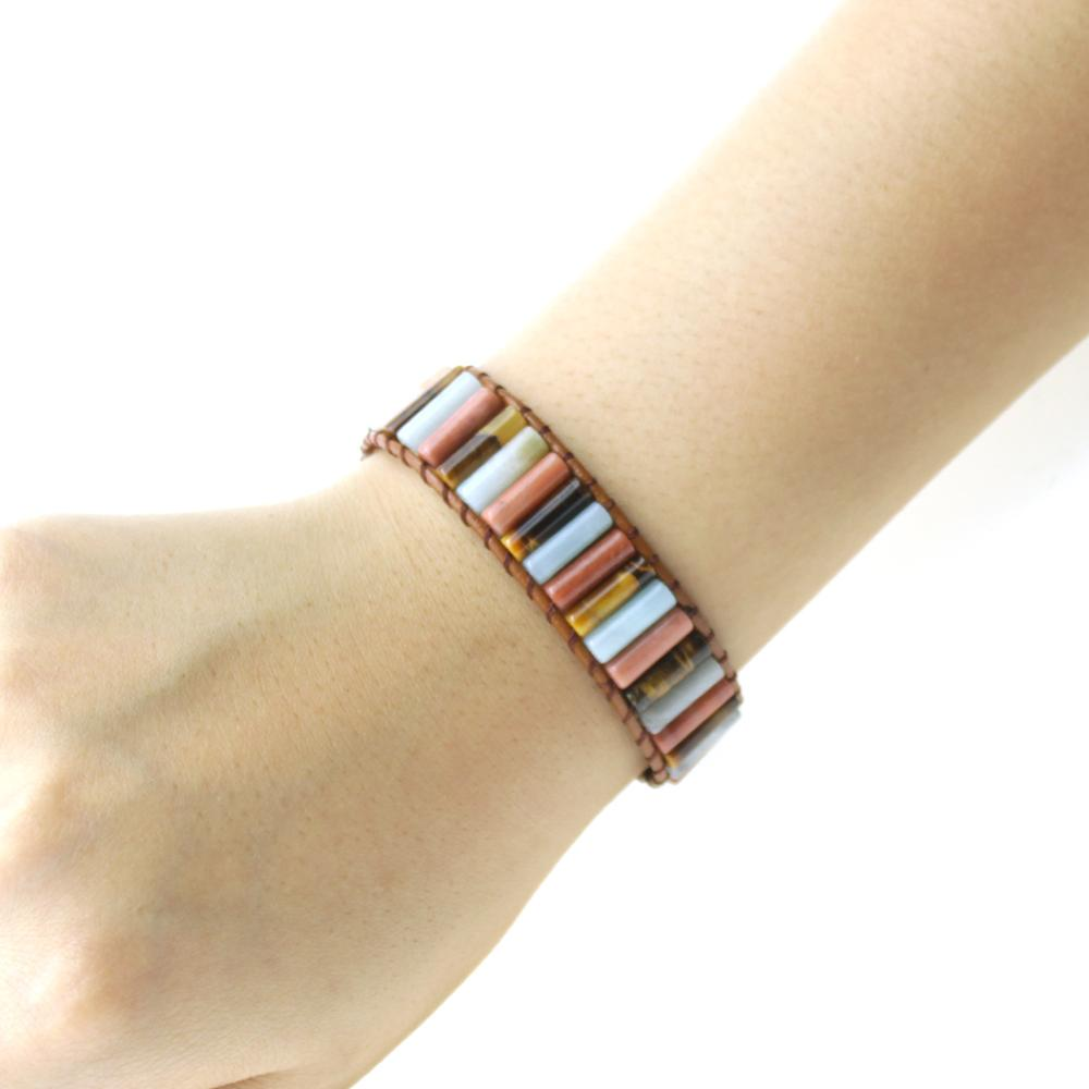 Leather Wrap Bracelet Handmade Natural Stone Tube Beads Vintage Cuff Bracelet New Fashion Bracelets Creative Gifts in Strand Bracelets from Jewelry Accessories