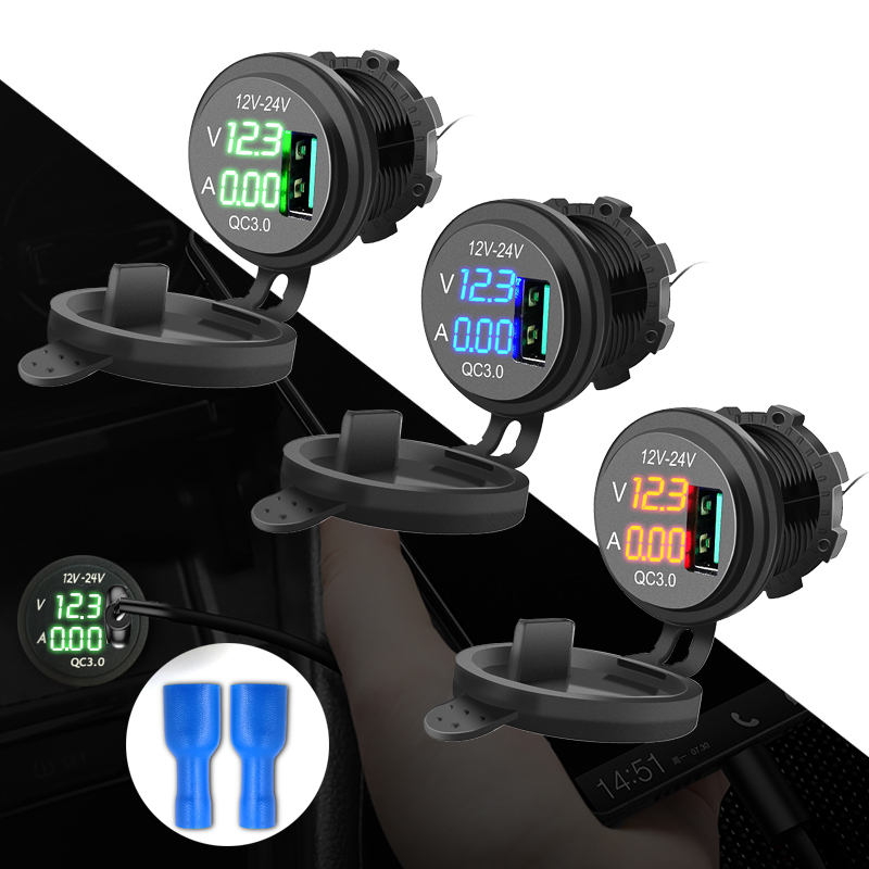Quick Charge 3.0 USB Charger Socket Led Digital Display Waterproof Dustproof Universal For Motorcycle Auto Truck ATV Boat