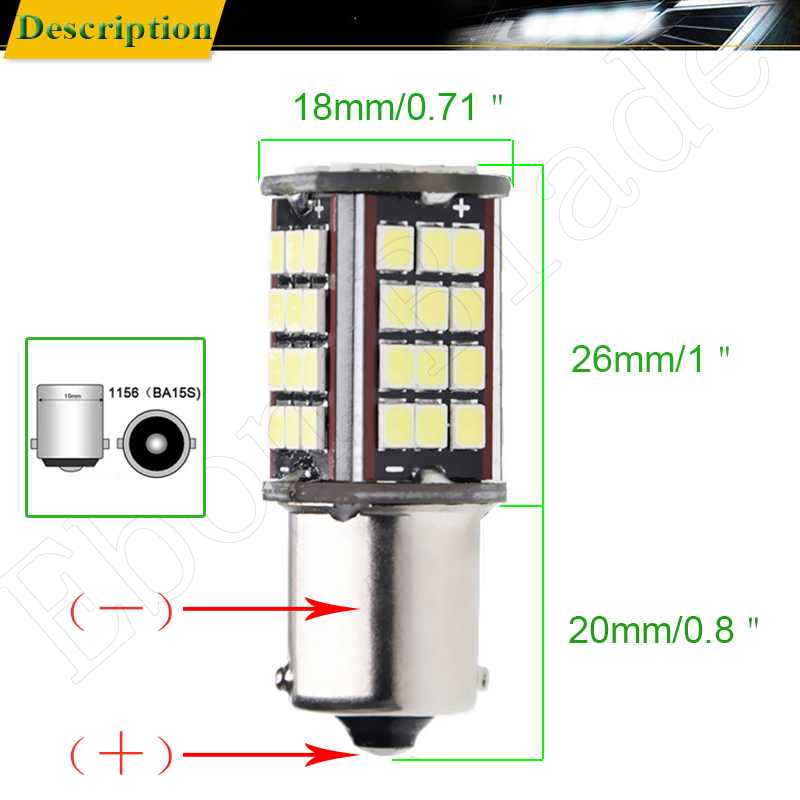 Image 3 - Pair 1156 BA15S P21W Led Auto Light 2835 56 SMD Lights Backup Reverse Turn Signal Bulb Lamp DRL Voiture Car Styling White 6V DC-in Signal Lamp from Automobiles & Motorcycles