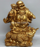 EE AA16 Chinese Brass Fu Happy Laugh Maitreya Buddha Ru Yi Statue Sculpture