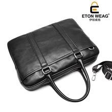 ETONWEAG New 2017 men famous brands cow leather black korean business style laptop messenger bags document shoulder bags
