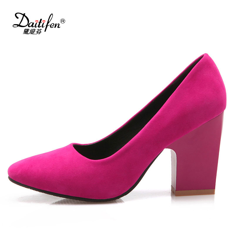 Daitifent Plus Size 31-44 Lady Women Pumps Fashion Square Heel OL Shoes Woman Casual Dress Flock Upper Round Toe Platform Pumps xiaying smile summer new woman sandals platform women pumps buckle strap high square heel fashion casual flock lady women shoes page 6