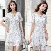 Summer Women Dress 2019 Chiffon Dress Pretty Printing Vestidos Party Dress Beach Dress Women vestidos de verano G330