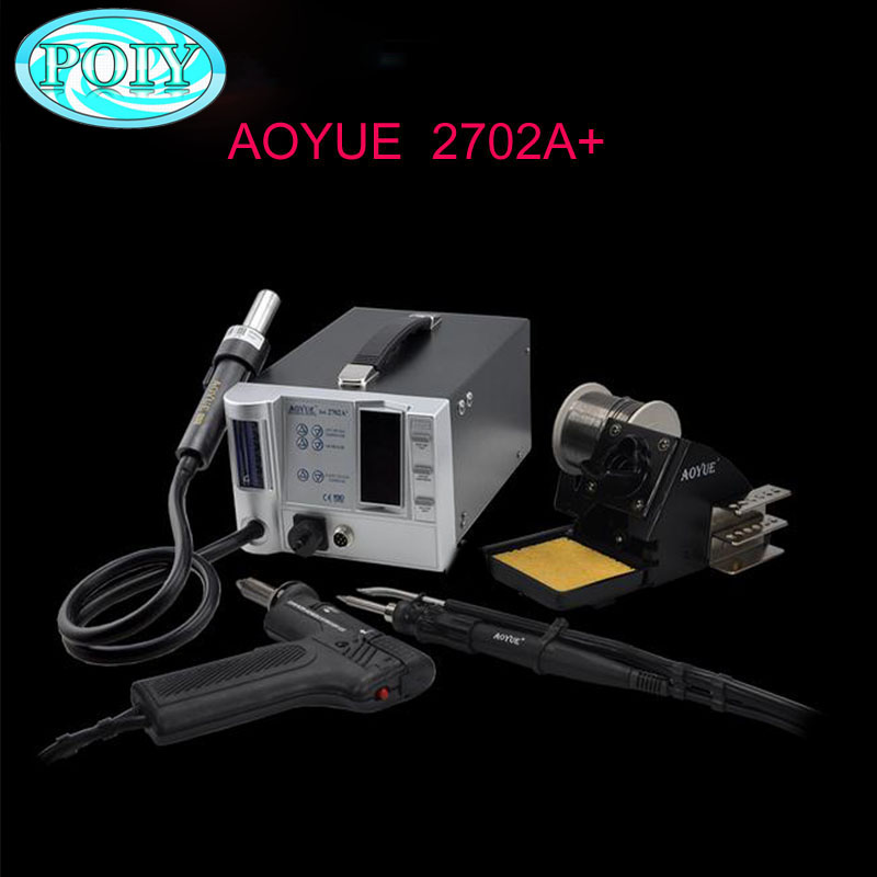 220V Lead Free Repairing system soldering desoldering station of Aoyue 2702A Hot Air gun Desoldering gun